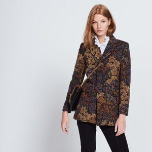 New Sandro 40 Alma Floral Tapestry Jacket Button